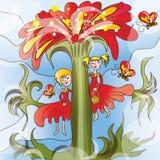 Meisjes op grote bloem Stock Illustratie