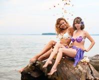 Meisjes op het logboek stock foto's
