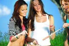 Meisjes op picknick Stock Afbeeldingen