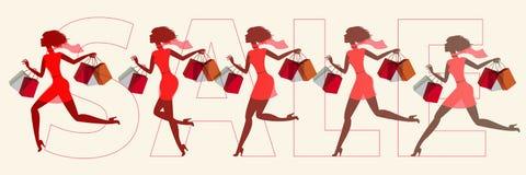 Meisjes op verkoop in werking die worden gesteld die vector illustratie