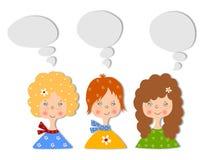 Meisjes. Reeks beeldverhaalkarakters Stock Foto