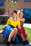 Meisjes in retro stijl Stock Foto