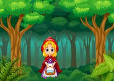 Meisjes rode is met een kap in het bos vector illustratie