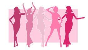 Meisjes in Roze Silhouetten Stock Afbeelding