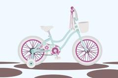 Meisjes` s fiets op abstracte vector als achtergrond stock illustratie