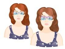 Meisjes` s gezicht met glazen royalty-vrije illustratie