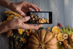 Meisjes` s handen met telefoon, foto'ssamenstelling met thee en fruit Royalty-vrije Stock Afbeelding
