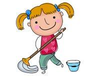 Meisjes schoonmakende vloer Royalty-vrije Stock Afbeelding
