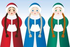 Meisjes in traditionele kleding Royalty-vrije Stock Foto's