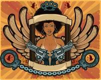 Meisjes van de Afro de Amerikaanse vleugel in maffiasamenstelling Royalty-vrije Stock Afbeelding