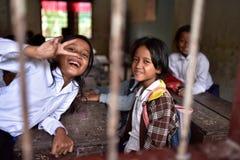 Meisjes van Khmer Dorp Stock Fotografie