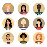 Meisjes van verschillende nationaliteiten stock illustratie