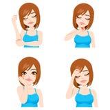 Meisjes Verschillende Pijn Stock Foto