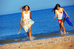 Meisjes in water Stock Foto