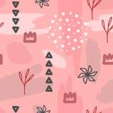 In meisjesachtig naadloos patroon Herhaald van kronen, bloemen, geometrische vormen en borstelslagen vector illustratie