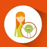 Meisjesbeeldverhaal en pictogram van het kiwi het leuke fruit Stock Foto