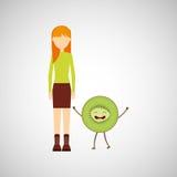 Meisjesbeeldverhaal en pictogram van het kiwi het leuke fruit Stock Fotografie
