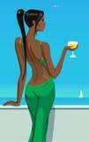 Meisjesdame die zich op het balkon met een glas champagnewijn bevinden in van de overzeese de bar vectorillustratie hemelclub Stock Foto