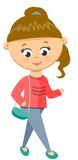 Meisjesgangen in Sweater en Jeans Royalty-vrije Stock Afbeelding
