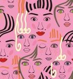 Meisjesgezichten met ogen, haren, lawaai en lippen stock illustratie