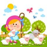 Meisjesherderin en schapen Stock Foto