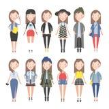 Meisjeskleding voor verschillende situaties vector illustratie