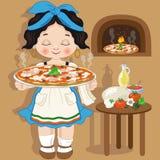 Meisjeskok met kleine Italiaanse pizza Stock Foto's