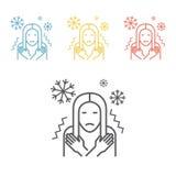 Meisjeskou, koorts op witte achtergrond Royalty-vrije Stock Foto's