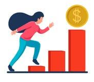 Meisjeslooppas op de grafiek aan succes verhoging van inkomens Het pictogram van het dollarmuntstuk royalty-vrije illustratie