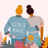 Meisjesmacht Het concept van het feminisme vector illustratie