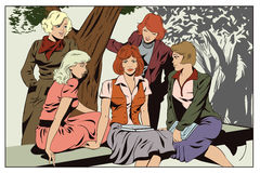 Meisjesmeisjes die in park spreken Mensen in retro stijl stock illustratie