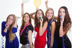 Meisjesnacht die uit partying stock foto