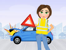 Meisjesneerstortingen in de auto vector illustratie