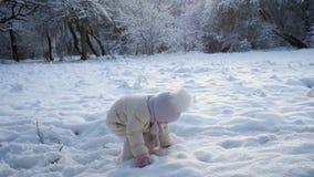 Meisjespelen in Sneeuw stock video