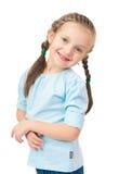 Meisjesportret met vlechten op wit Stock Afbeeldingen