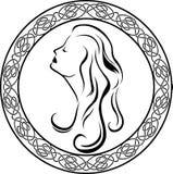 Meisjesprofiel in Keltische cirkel Royalty-vrije Stock Afbeeldingen