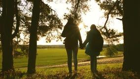 Meisjesreiziger met een reis van het tienermeisje bij zonsondergang Hef omhoog uw handen op Vrije avonturen groepswerk overwinnin stock footage