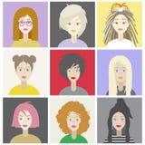 Meisjesset van tekens met verschillende kapsels Kleurrijke illustratie vector illustratie