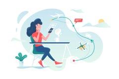 Meisjessporen het volgen van pakket vector illustratie