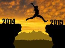 Meisjessprongen aan het Nieuwjaar 2015 Stock Foto