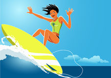 Meisjessurfer royalty-vrije illustratie
