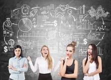 Meisjesteam van onderneemsters, bedrijfsregeling Royalty-vrije Stock Foto's