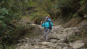 Meisjestoerist in de Himalayan-bergen stock footage