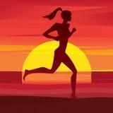Meisjestreinen bij zonsondergang stock illustratie