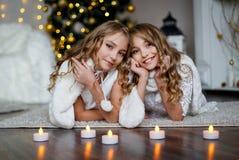 Meisjestweelingen voor de bont-boom stock foto's