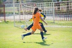 Meisjesvoetbal stock foto's