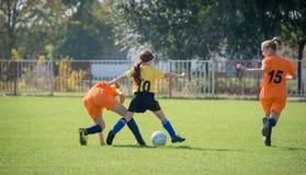 Meisjesvoetbal Royalty-vrije Stock Foto's