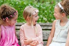 Meisjesvrienden die een lach in park hebben. Stock Fotografie