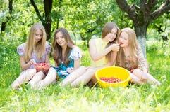 Meisjesvrienden die pret hebben die aardbeien eten Royalty-vrije Stock Afbeelding