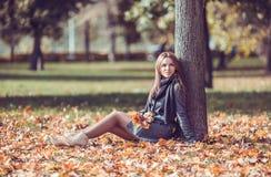 Meisjeszitting met de herfstboeket in het park Stock Foto